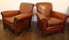 ... Club Chair Antique Leather Pair ...