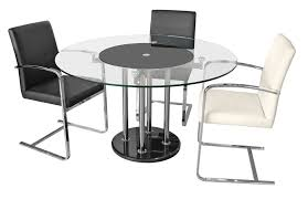 elegant glass dining table with rotating center
