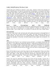 Doc Fabric Identification The Burn Test Idris Salihu