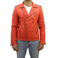 mens red leather gold zipper retro vintage quilted brando leather biker jacket