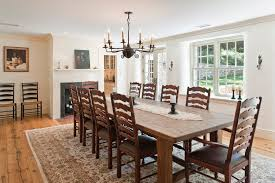 round farmhouse dining table dining room farmhouse with antique chandelier area rug