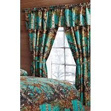 the woods teal camouflage 5pc curtain