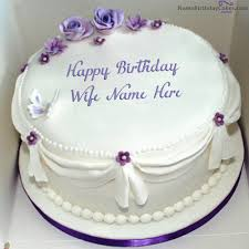 Write Name On Voilet Roses Birthday Cake For Wife Happy Birthday