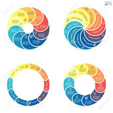 Pie Chart With 10 Sections Circular Infographics Step By Step With Rounded Colored Sections