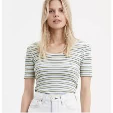 NWT <b>Levi's</b> Venice Ribbed <b>Striped</b> Yellow White Blue T Shirt M ...