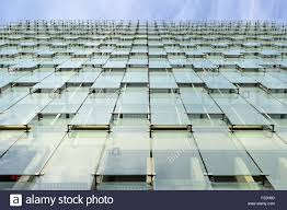 office facade. Modern Office Building Glass Facade Cladding Low Angle Viewpoint, Barcelona Spain Europe K