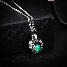 kittenup pet fashion green crystal heart shape alloy cremation jewelry ashes urn pendant necklace for keepsake funeral