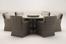 soro 1 8 metre round grey rattan dining table and 6 club chairs set
