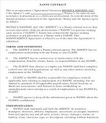 13 Sample Nanny Contract Templates Word Apple Pages Pdf