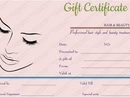 Beauty Salon Gift Certificate Template Free Printable Simple Hair