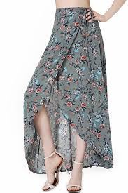 Long Skirt Patterns Custom Teal High Waist Floral Pattern Wrap Boho Maxi Skirt 48 Skirts