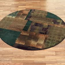 contempo block round rug teal blue