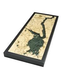 Nautical Wood Charts Woodcharts Great Sacandaga Lake Bathymetric 3 D Wood Carved Nautical Chart
