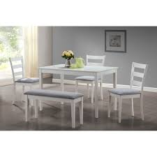 Monarch Dining Set 5Pcs Set  White Bench And 3 Side Chairs  Walmartcom