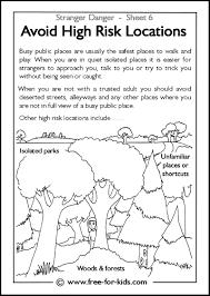 Avoid High Risk Locations Activity Sheets For Children Stranger