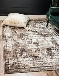 unique loom sofia collection traditional vintage light brown home décor area rug 5 x 8