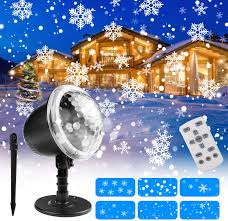 Snowfall Lights Amazon Christmas Projector Lights Henscoqi Outdoor Led Snowfall Light 2 In 1 Snowflake Decorative Landscape Lights Waterproof Ip65 With Remote Controller