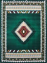South West Native American Area Rug Design D 143 Hunter Green 8 Feet X 10