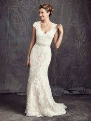 Bridal gowns - LGM67 - Cotton lace over satin sheath wedding ...