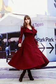 red coat big sweep women wool winter coat long jacket tunic fast nc222