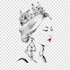 Woman With Crown And Red Lips Painting Painting Illustrator Drawing