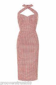 Collectif Uk Penny Picnic Gingham Pencil Dress Rockabilly