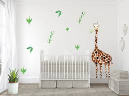 giraffe wall decal baby room nursery decor safari room decor giraffe watercolor giraffe