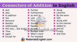 Addition Transition Words Materials For Learning English