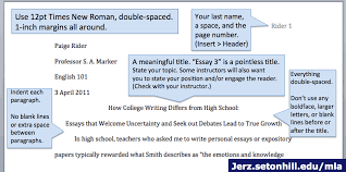 mla papaer mla style paper layout of first page jerzs literacy weblog