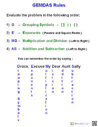 Math Operations Chart Order Of Operations Worksheets Order Of Operations