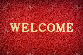 Red Doormat And Welcome Text For Background Stock Photo, Picture ...