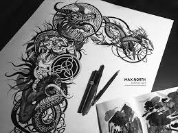 дракон арт эскизтату тату графика чб рисунок Art Tattooart