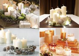 diy christmas candle centerpieces table-white-pillar-candles-tree-ornaments