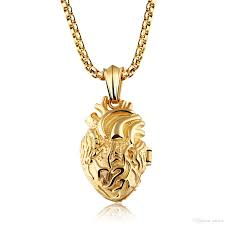 whole personality stainless steel anatomical heart necklace human organ heart felt pendant for women men pun rock style gold silve black fashion jewelry