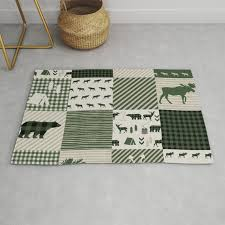 camping hunter green plaid quilt cheater quilt baby nursery cute pattern bear moose cabin life rug
