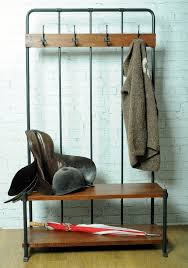 Boot Bench With Coat Rack Coat Stand With 100 Coat Hooks On A Metal Base With Mango Hardwood 28