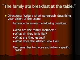 descriptive writing using descriptive language plant  the family ate breakfast at the table directions write a short paragraph describing your