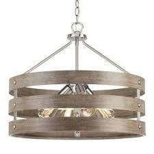 4 light brushed nickel drum pendant with weathered gray wood accents