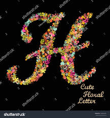 stock vector the letter h bright floral element of colorful alphabet made from flowers petals hearts and