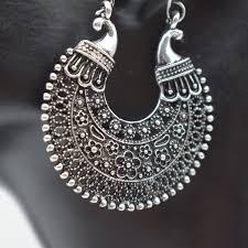 wish african tribal gypsy antique silver gold chandelier hoop earrings for women