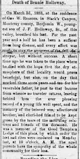 Death of Bennie Holloway March 3, 1883 - Newspapers.com
