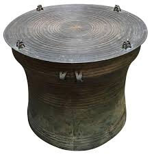 burmese shan bronze rain drum side table for