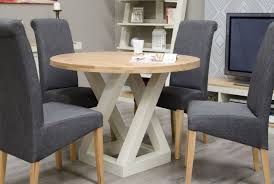 details about zaria oak painted dining room furniture round dining table natural top