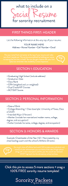 Sorority Recruitment Resume What To Include On A Sorority Resume Sorority College And Dorm 21