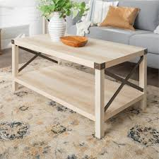 light wood coffee table with bottom