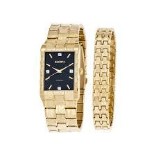 upc 049353796239 elgin mens diamond accent gold tone and black upc 049353796239 product image for elgin men s textured watch and bracelet set upcitemdb com