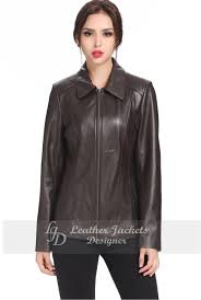 womens elegant moto style leather jacket front view