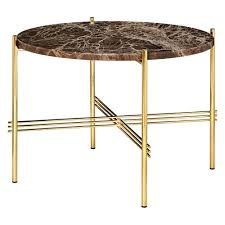 ts round coffee table small brown marble brass