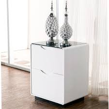 High Quality Maestro Bedside Table   High Gloss W/ Black Glass Top