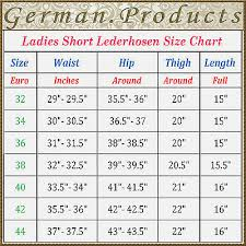 German Size Chart Oktoberfest Ladies Short Lederhosen German Bavarian